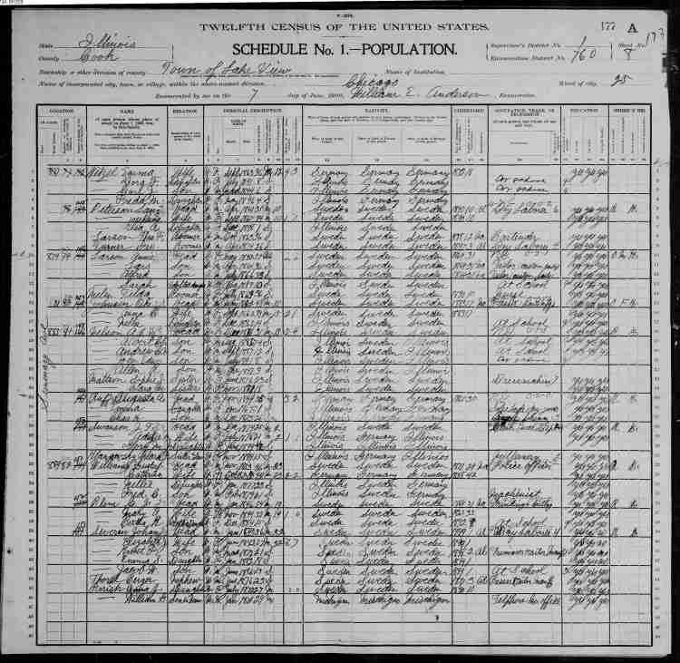 1900 Census Page