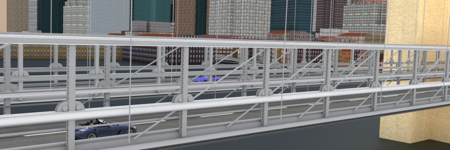 animated cars on bridge